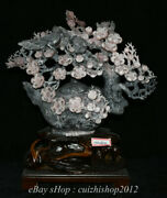 20 Chinese Natural Xiu Pink Jade Carved Flower Birds Teapot Statue Decorate