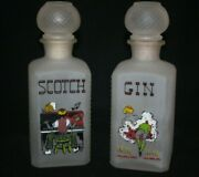 1950 Whiskey Decanters Bottles Scotch Gin Hand Painted Bar Vintage