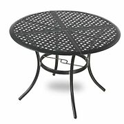 Round Metal Patio Dining Outdoor Bistro Wrought Iron Tables With Umbrella