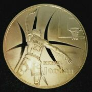 Michael Jordan 23 Gold Plated Collectible Coin With Clear Plastic Coin Case