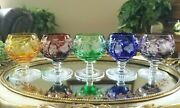Set Of 5 - Cut To Clear Assorted Color Mini 3-1/8 Brandy Snifter Cordials