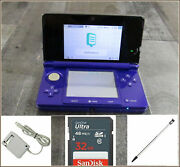Nintendo 3ds Midnight Purple Nintendo 3ds Console 32gb Memory Charger Stylus
