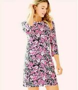 Euc Lilly Pulitzer Bay Dress Hibiscus Pink Hangin With My Boo Small S23