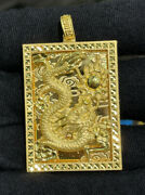 Pure 24k Solid Gold Dragon Rectangle Charm/ Pendant 19.35 Grams