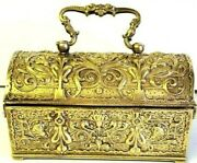 Vintage Antique Gilded Brass Hinged Jewelry Trunk 19th Century Ornate, French