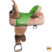 C-r-17 17 In Western Horse Saddle Treeless Trail Barrel Racing American Leather