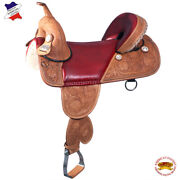 C-d-16 16 In Western American Leather Treeless Saddle Trail Barrel Racing