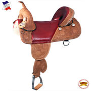 C-d-17 17 In Western American Leather Treeless Saddle Trail Barrel Racing