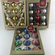 Lot Of 34 Vintage Shiny Brite Christmas Ornaments And More Red Blue Gold Silver