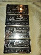 Silver Bullion Gold Standard Engelhard 10 Ounce 4 Sequential Numbers Rare Rare