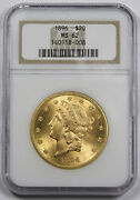 United States 1896 20 Liberty Head Gold Coin Ngc Ms62 Unc/bu Old Style Holder