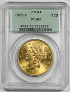 United States 1895 S 20 Liberty Head Gold Coin Pcgs Ms62 Bu Old Green Holder