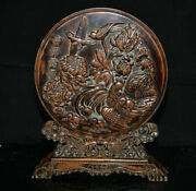 15.2 Old Chinese Boxwood Gems Hand Carving Cock Rooster Flower Folding Screen