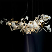 Brass Branch Chandelier With Porcelain Leaves Home Decor Luxury Pendant Lamp