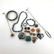 Small Jewelry Lot Yard Sale Junk Drawer Gold And Silver Tones Pins Earrings...