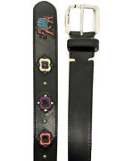 Etro Mens Embroidered Black Leather Belt With Paisley And Elephants