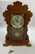 Parts Or Repair- Vtg Mantle Desk Shelf Clock 31 Day Wind Up W/ Pendulum And Key