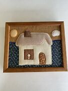Vintage Wooden Key Holder Box Wall Mount Quilted House Opens Hidden 14 Hooks
