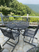 Vintage Wrought Iron Outdoor Metal Furniture 4 Chairs 1 Table