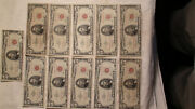 11 - 1963 5 Bills United States Notes Red Dot