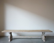 Antique Bleached Oak Wood French Bench Rare 1950's Mid Century Modern Bench