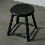 Antique French Stool Black Patinated Wood Primitive Stool Rare 19th Century