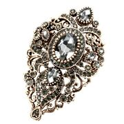 Brooches Pins Antique Victorian Style Gold Plated Vintage Black Diamond Crystals