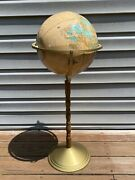 Vintage 12 Crams Imperial World Globe On Brass And Wood Stand 3 Ft. Tall Must See