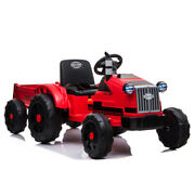 Electric 12v Kids Ride On Tractor Car Farm Truck + Trailer + Remote Control Red