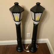 Blow Mold General Foam Pair Of Two Lighted Black Lamp Posts 39