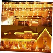 -packs Ft 96 Led Icicle Lights, Christmas Lights Plug In Outdoor Fairy 10