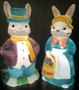 Vintage Empire 34 Large Mr And Mrs Easter Bunny Blow Mold Set Lighted Yard Decor