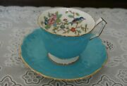 Vintage Aynsley Bone China Turquoise Pembroke Cup And Saucer 2902, England
