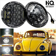 Led Headlights 7and039and039 Round Upgrade Hi/lo Beam Kit For 1950-1979 Vw Beetle Classic