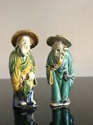 Lots Of 2. Vintage 4.1/4andrdquo Antique Chinese Mud Men Figurine. They Are Looking