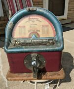 1¢ Vintage Penny Coin Op Mercury Grip Strength Tester Athletic Scale Unrestored