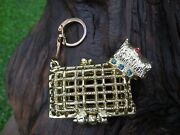 Collectible Vintage Scottie Dog Weaved Gold Tone Rhinestone Coin Purse Key Chain