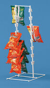 Spring Clip Strip Rack Countertop Chips Candy Snacks White Metal Framed Display