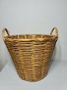 Large Vintage Bamboo Rattan Wicker Basket With Handles 14.5 H X 18 W