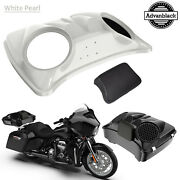 Stone Washed White Pearl Dual 8'' Speaker Lids For Advanblack/harley Tour Pack
