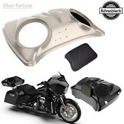 Silver Fortune Dual 8and039and039 Speaker Lids For Advanblack/harley Chopped Tour Pak Pack