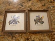 Antique Knights On Horses Hand Painted Framed Tiles From Spain Brilliant Rare