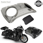 Pewter Pearl 8and039and039 Speaker Lids For Advanblack/harley Chopped Tour Pak Pack