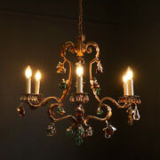 Vintage Gilt Italian Tole Antique Chandelier With Murano Glass Fruit Drops