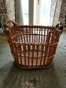 Large Vintage Wicker Laundry Gathering Basket With Handles Woven Rattan