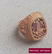 Vintage 20th Original 583 Gold Menand039s Ring Size 21 Olympiad 80 Ussr 16.23gr