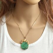 14k Solid Real Yellow Gold Round Green Jade Pendant - P130