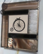 Stained Glass Window Panel Antique Bicycle Brown Black Beige Gold Gear
