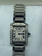 W51008q3 Tank Francaise Stainless Steel Quartz Womanand039s Watch - Small