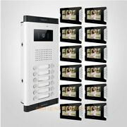 7 Lcd Video Secure Doorbell Intercom With One Button Unlock For 12 Apartment